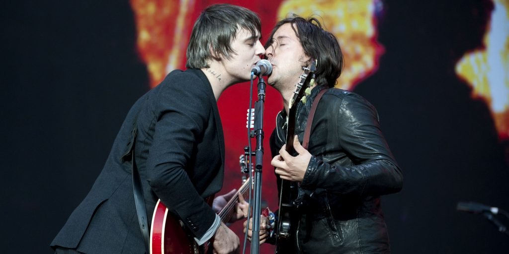 Carl Barat and Pete Doherty of The Libertines performing at the Leeds Festival, in Bramham Park in West Yorkshire. Picture date: 27 August 2010. M Crossick/EMPICS